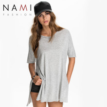 Casual Solid Side Fork Gray Black Ladies Long T-shirt 2016 New Brand Summer Spring Fashion O Neck Half Sleeve Women T shirts Top(China (Mainland))