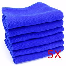 5 PCS 30cm x 30cm Microfibre Cleaning Auto Car Detailing Soft Cloths Wash Towel Duster Blue(China (Mainland))