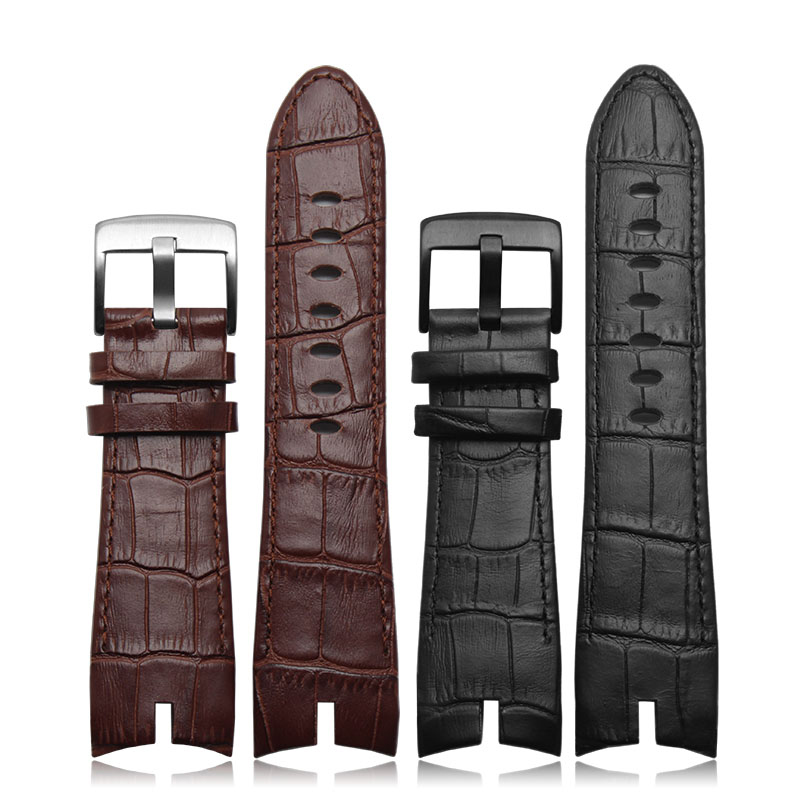 2016 NEW Arrivals 26*22mm Black and Brown Genuine leather strap watch strap crocodile pattern For Roger Dubuis EXCALIBUR series(China (Mainland))