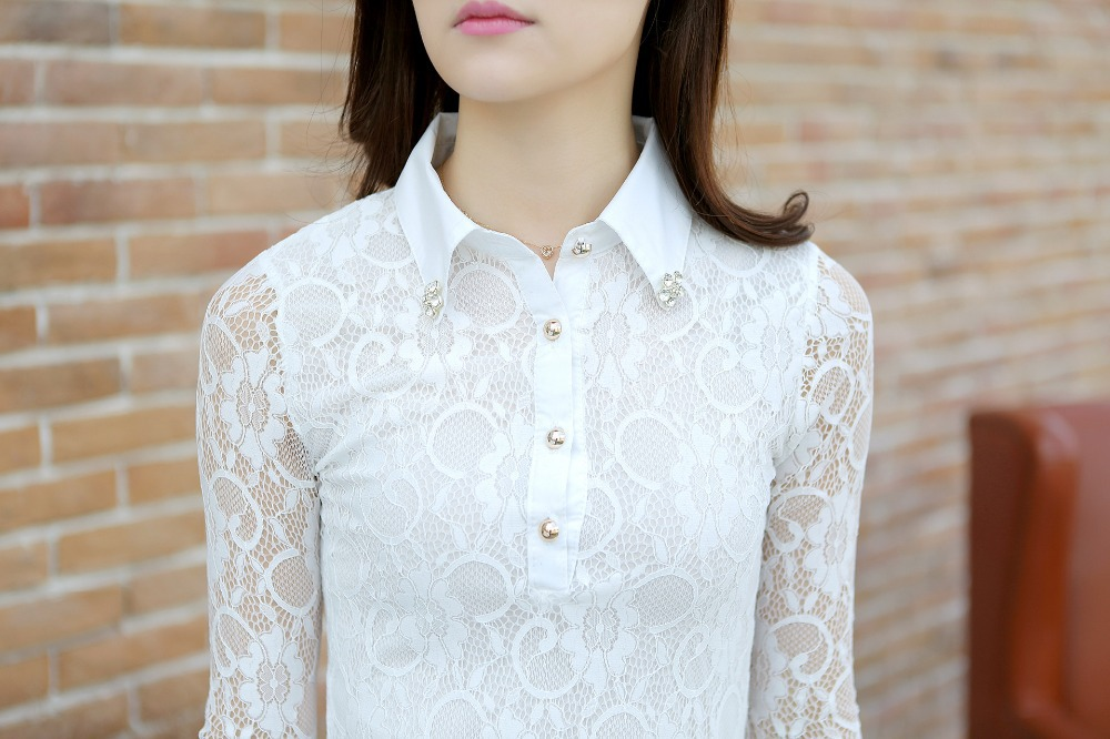 White Long Sleeve Collared Shirt Womens