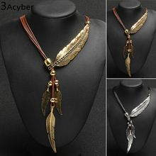 bohemian Style Vintage Jewelry Rope feather Rhinestone statement Necklace women necklaces pendants Bijoux 63(China (Mainland))