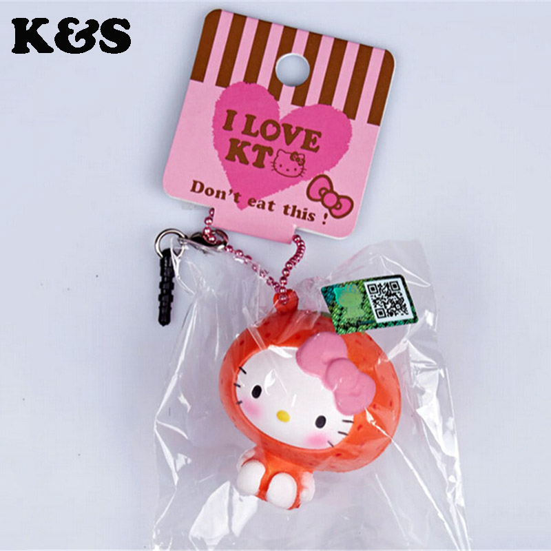 Licensed Rare Hello Kitty Fruit Squishy 5Pcs/lot Original package mushroom doll squishy pink cell phohe Strap Charm wholesales(China (Mainland))