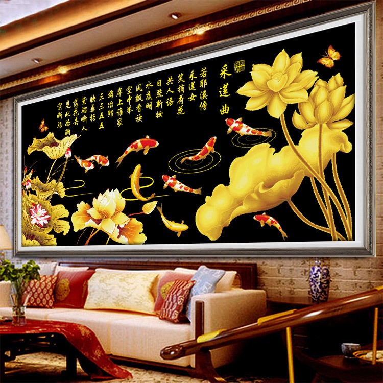 Гаджет  The latest 3D printing stitch living room nine fish enrichment golden lotus sharp two meters nine fish Figure stitch None Изготовление под заказ