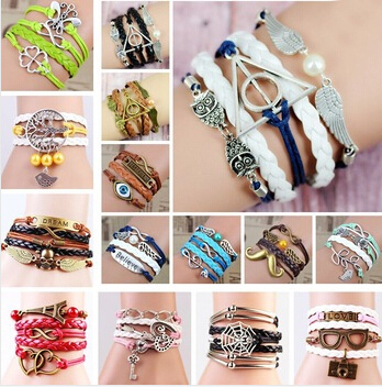 2015 NEW FASHION BRACELETS charm bracelets unisex lobster leather zinc alloy short tension mount trendy animal rope chain(China (Mainland))