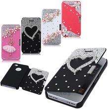 Luxury Exclusive Debut Pretty Flower Bling Magnetic Flip Style Cover Case For iPhone 4 4S 4G Diamond Heart & Tower Free Shipping(China (Mainland))