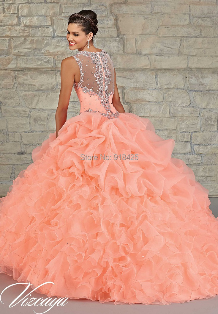 Wholesale Peach Color Quinceanera Dress Ball Gown Ruffles Organza ...