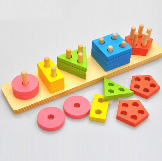 sets color shape wood column matching assembly early childhood cognitive toys - Shadow Toys store