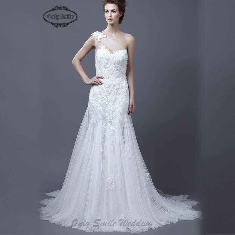 ZJ2047 Free shipping Elgant couture lace sexy sheer back one shoulder hot sale mermaid wedding gowns 2015(China (Mainland))