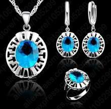 Hohe Qualität Blau CZ Kristall Hochzeit Halskette & Ohrring & Ring 3 Set Echt 925 Sterling Silber Anhänger Jewlery Set geschenk Großhandel(China)