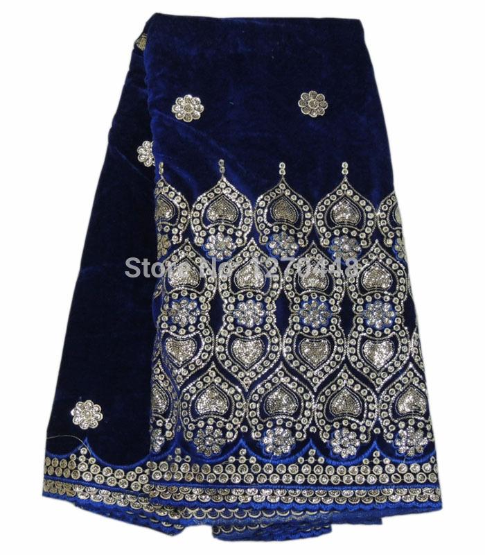 Beautiful dark blue, French famous velvet fabric pattern rhinestone African dress lace fabrics - MiXi fashion women store