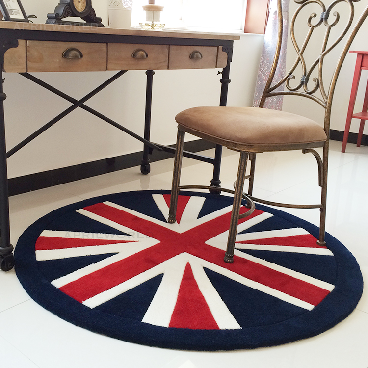 The New England flag round carpet tide brand retro style living room bedroom bedside computer chair swivel chair(China (Mainland))