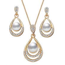 Mode Strass Imitation Perle Braut Hochzeit Schmuck-Sets für Frauen Wasser Tropfen Ohrringe Halskette Schmuck Set Zubehör(China)