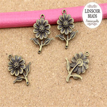 Buy 20pcs/bag 20*27mm Wholesale fashion antique bronze flower charms pendant making necklace bracelet jewelry accessories F882 for $2.72 in AliExpress store