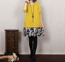 2015 New Mori Girl Kawaii Lolita Brief Korean Novelty Party Patchwork Cotton Linen Print Casual Dresses Plus Size Faux Two Piece