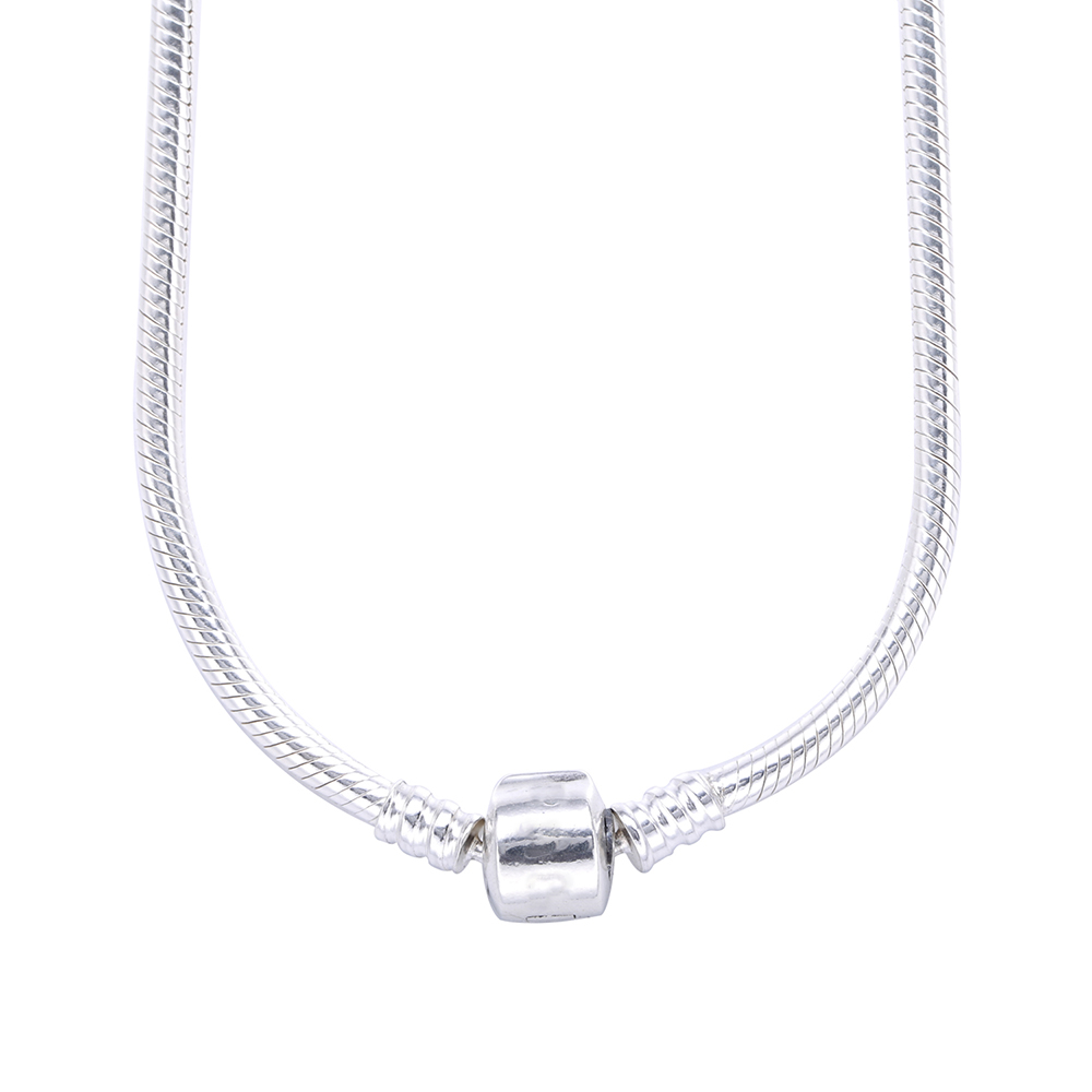 2016 New Collection Authentic 925 Sterling Silver Snake Chain Necklace For Women Vintage Gift Fit Original Pandora Bead Charm(China (Mainland))