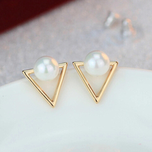 EB035 Girls fashion personality triangle imitation pearl stud earrings for Women jewelry(China (Mainland))