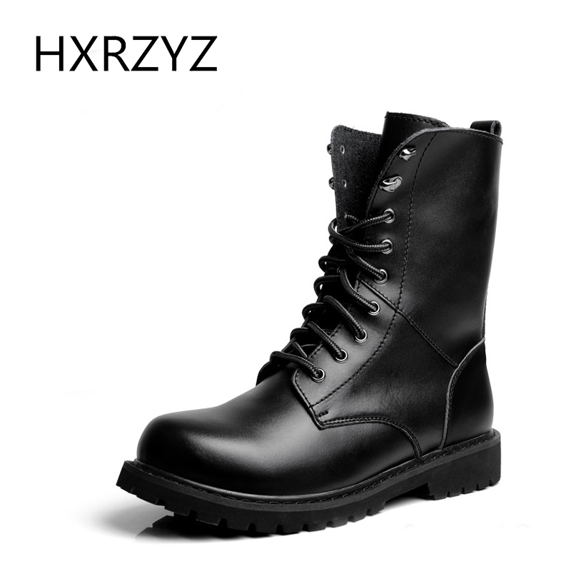 Big Size 49 Autumn Soft Leather Combat Boots Men's Round Toe Classic Fashion Straps Motorcycle Boots Men Outdoor Casual Shoes(China (Mainland))