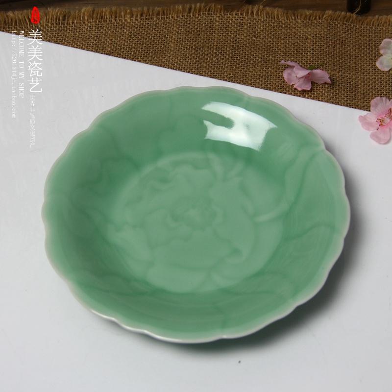 Celadon Tableware Tary Plate Dish Peony Plate Ceramic