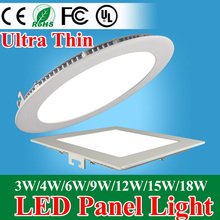 Ultra Thin Led Panel Downlight 3w 4w 6w 9w 12w 15w 18w Round/Square LED Ceiling Recessed Light AC85-265V LED Panel Light SMD2835(China (Mainland))