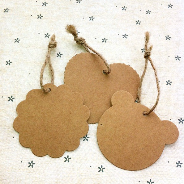 7 4cm antique kraft paper gift cards tags with swirl edges - Niceday material oficina ...