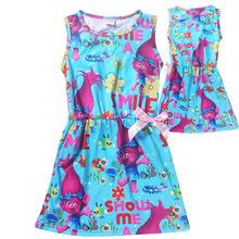 1pcs 2017 Summer Children girl's sleevelss POKE MON GO & Trolls Plain cotton cartoon girl dress 2colors 867&870 TZ03(China (Mainland))