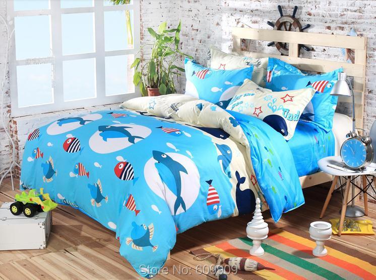 Shark bedding fish bedding ocean bedding sea bedding twin for Fishing bedding sets