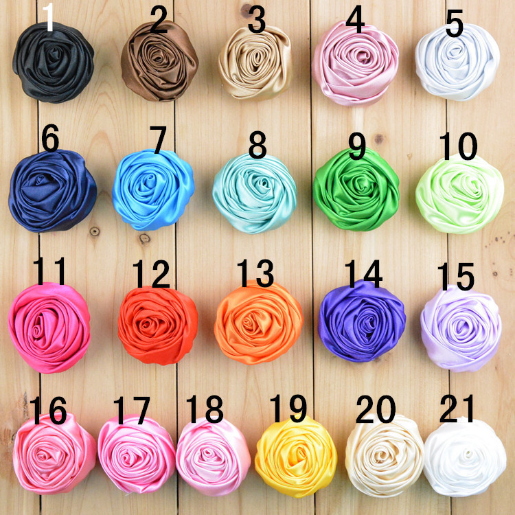 """2015 New 1.97"""" Multilayer Satin Rosettes Rose Flowers for Headband Hair Acessories DIY Photo Props 21 colors in stock 42pcs/lot(China (Mainland))"""