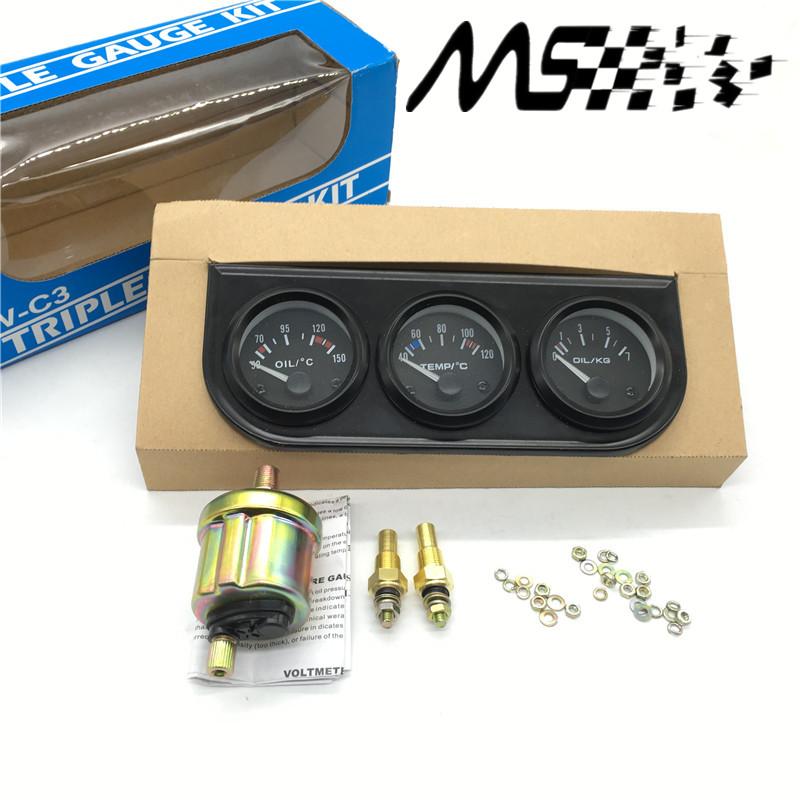 52mm Triple kit Oil Temp Gauge Water Temp Gauge Temperature Oil Pressure Gauge Sensor 3in1 Car Meter Auto Gauge<br><br>Aliexpress