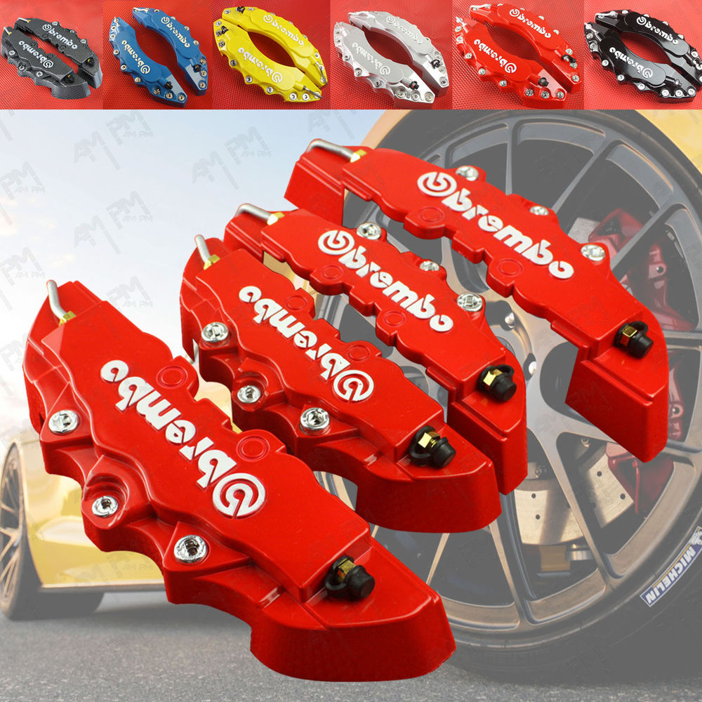 Free Shipping!! 4pcs New Brembo Style Red Disc Brake Caliper Covers Front And Rear Set Car Truck 3D For Mustang Explorer F-150(China (Mainland))