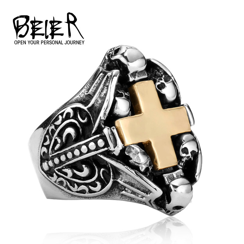 Stainless Steel Skull Gold Cross Unique Punk Ring Jewelry Man Biker Punk Motorcylce Jewelry Ring for Man and Boy BR8379 US size(China (Mainland))