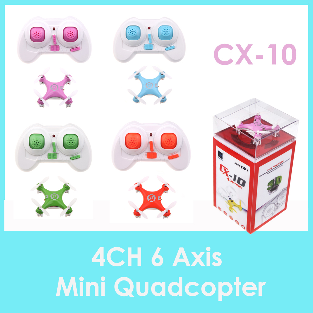 Orange/Green/Blue/Purple CX-10 Mini 2.4G 4CH 6 Axis LED RC Quadcopter Toy Helicopter w/ LED light CX-10 Quadcopter(China (Mainland))