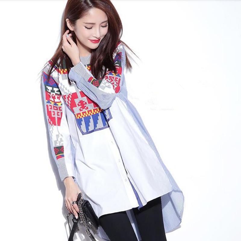 Plus Size Women Shirts Blouses Knitted Patchwork Stripe Shirt European New Fashion Big Size Ladies Top Clothing Desinger blouse(China (Mainland))