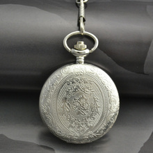 classic vintage retro antique pattern style shining white dial silver pocket watch men with waist chain wholesale good quality