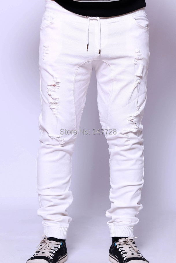 hip hop mens joggers biker harem bandana sweatpants white