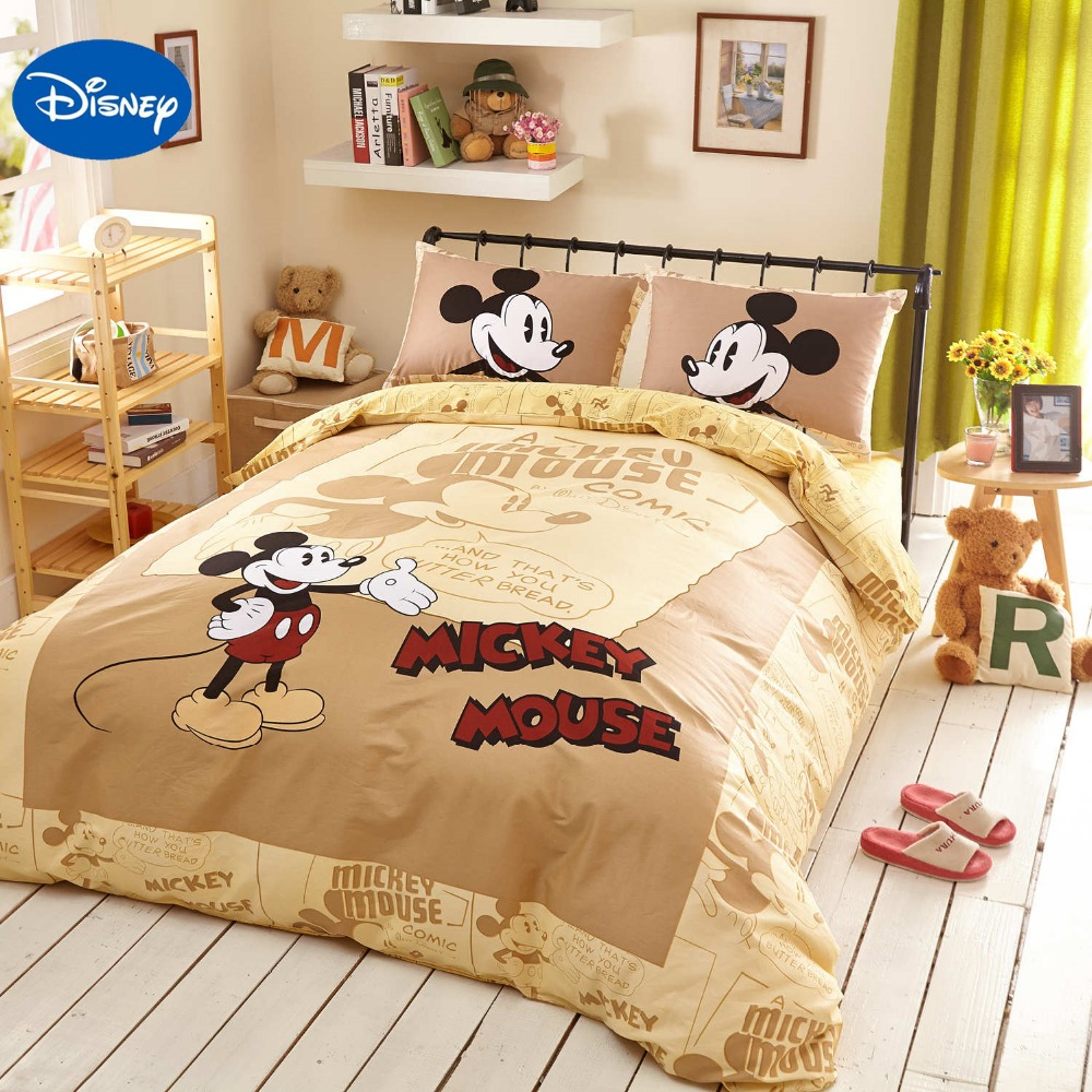 Beige Disney Cartoon Mickey Mouse 3D Printed Bedding Set for Boys Bedroom  Decor Cotton Bed Sheets. Compare Prices on Mickey Mouse Bedding Set  Online Shopping Buy