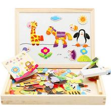 Modern Multifunctional Drawing Writing Board Magnetic Puzzle Double Easel Wooden Toy Feb16(China (Mainland))