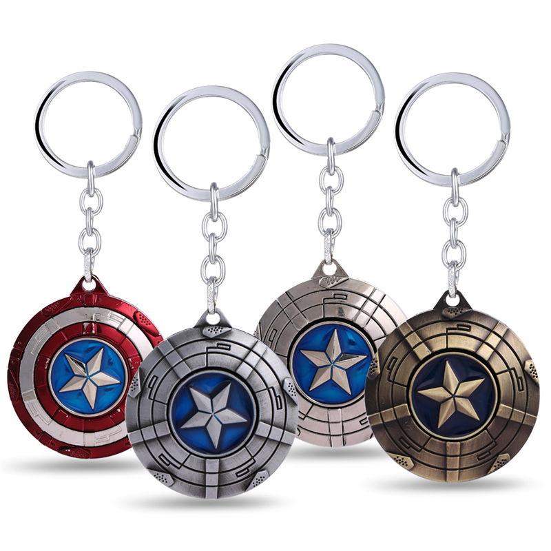 marvel comics captain america shield metal keychain 4 colors