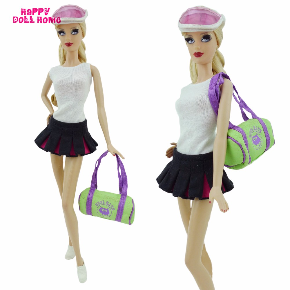 Sports activities Outfit Tennis Attire White Vest Black Skirt Sneakers Solar Helmet Hat Bag Exterior Garments For Barbie FR Doll Equipment Reward