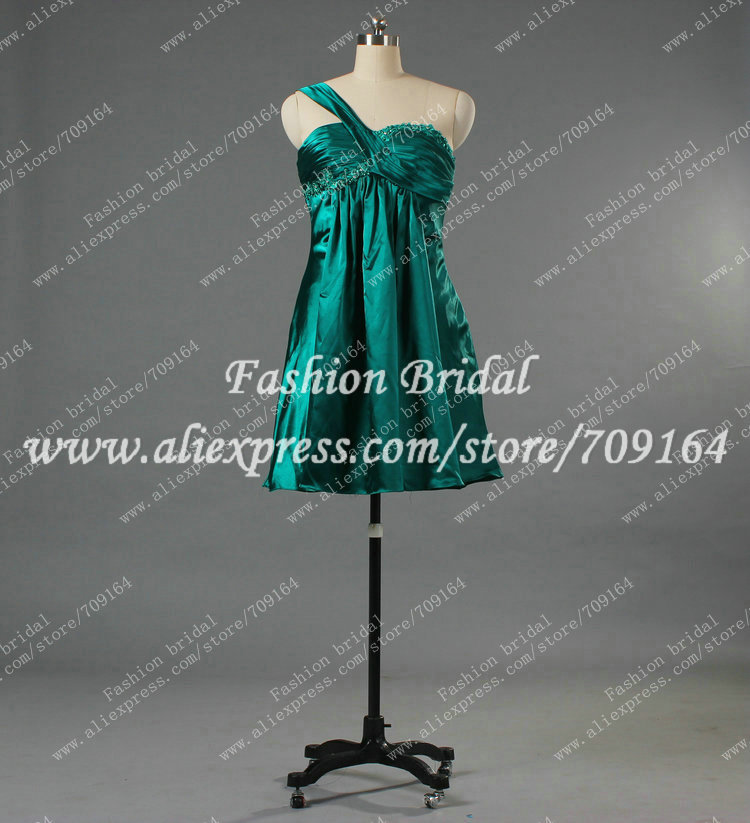 Real Sample Green Cocktail Dress One Shoulder Appliques Mini Free Shipping Y1354(China (Mainland))