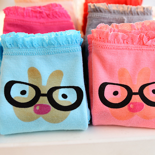 5683 free shipping 2014 lovely black glasses cartoon character female briefs wrinkle lace girl panties Clearance Sale!