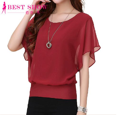 New Womens Tops Fashion 2016 Women Summer Chiffon Blouse Plus Size Ruffle Batwing Short Sleeve Casual Shirt Black White Red Blue(China (Mainland))