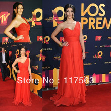 Kim Kardashian At MTV Latin America 2008 red carpet floor length long chiffon celebrity dress evening dress CD036(China (Mainland))
