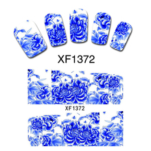 Blue Peony Flower False Nail Accessory Tips Wrap Decals Water Transfer Wraps Stickers DIY Gift XF1372