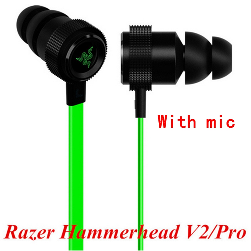 2016 New Razer Hammerhead V2 Pro Earphone With Microphone No Retail Box In Ear Gaming Headsets Noise Isolation Stereo Deep Bass(China (Mainland))