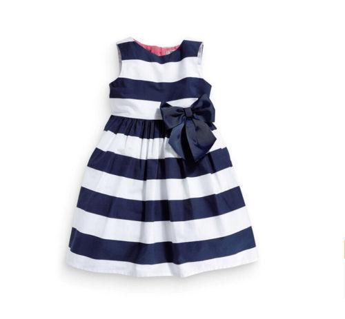 3T 4T 5 6 Kids Girls Tutu Dress Summer Fashion Sleeveless Stripped Bow Dress Sweet Knee High Dress(China (Mainland))