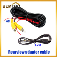Universal wire harness  for car rear view camera(6m video extension cable and 1.2m power cable ),Free Shipping