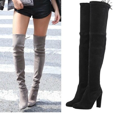 Cheap Suede Thigh High Boots - Yu Boots