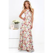 2019 קיץ מקסי ארוך שמלת נשים הלטר צוואר בציר פרחוני הדפסה ללא שרוולים Boho שמלת 5XL בתוספת גודל סקסי חוף שמלה vestido(China)