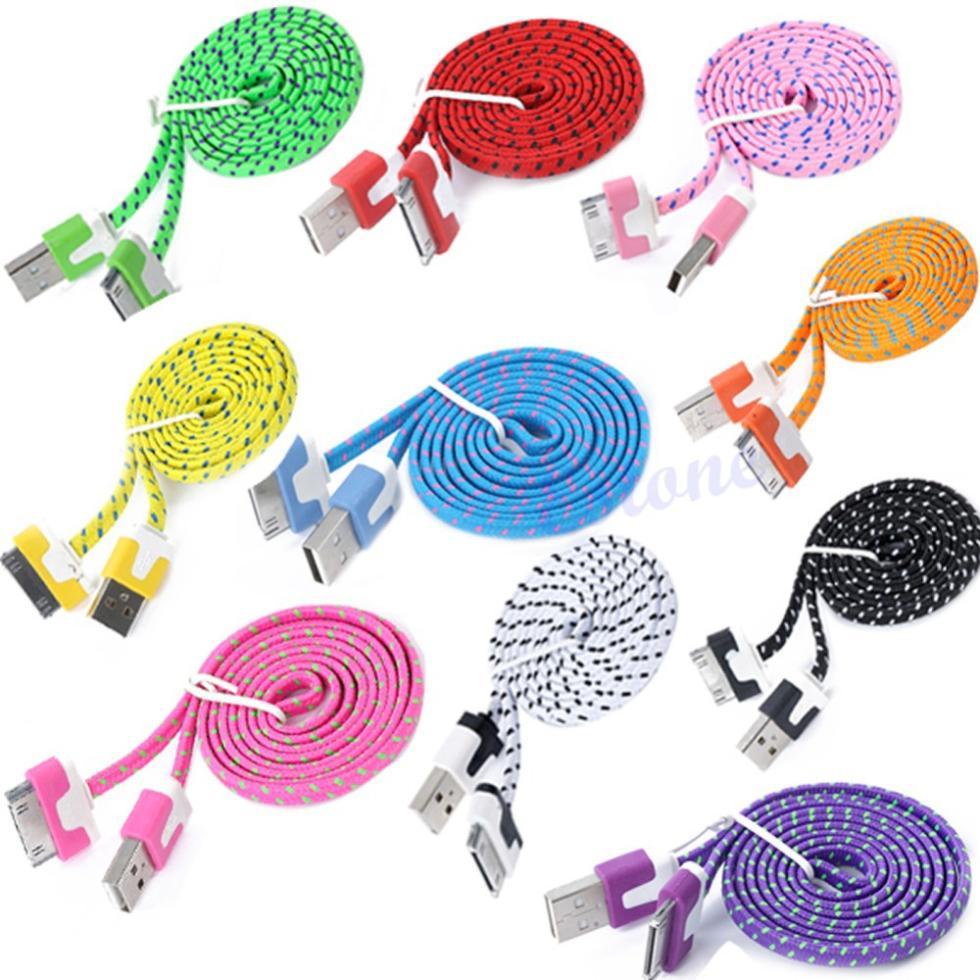 Бесплатная доставка 1 м 3FT лапша плоским коса USB кабель заряжателя Sync шнур для iPhone 4 4S iPad 2-PY