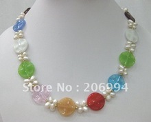 free shipping jade Freshwater pearl pendant Necklace lowest fashion jewelry #084(China (Mainland))